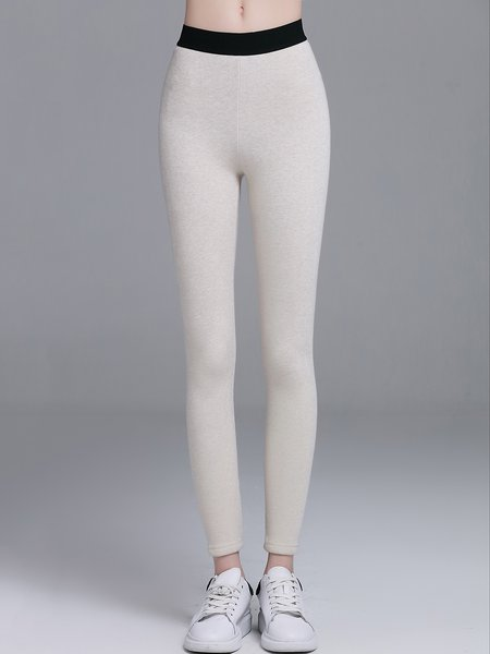 White Simple Plain Cotton-blend Leggings