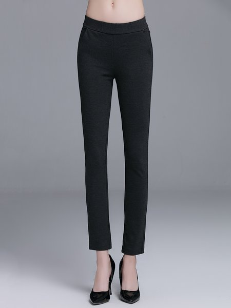 Black Viscose Simple Pockets Leggings