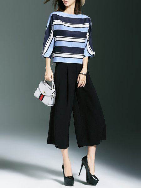 3/4 Sleeve Stripes Bateau/boat Neck Two Piece Jumpsuit