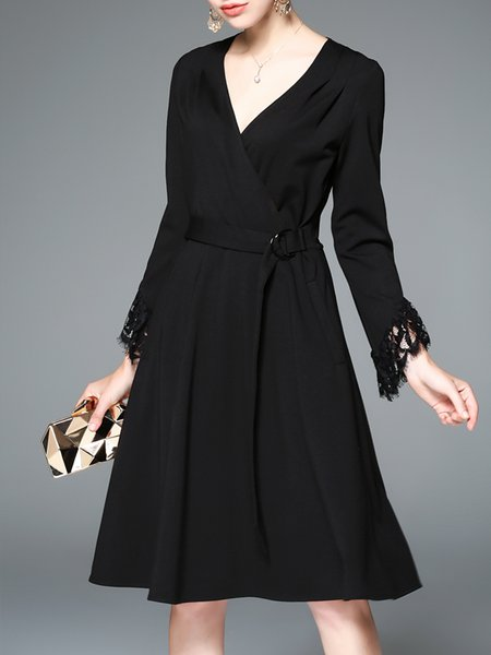 Black Surplice Neck Paneled Plain Elegant Midi Dress