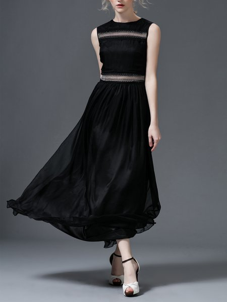 Black Beaded Paneled Silk Elegant Maxi Dress