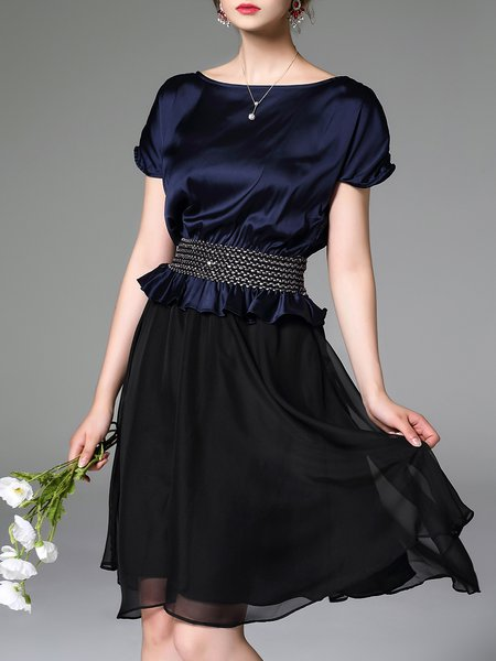 Dark Blue A-line Paneled Elegant Midi Dress