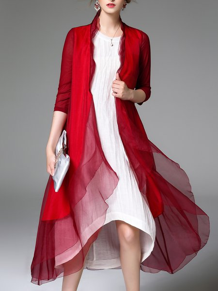 Burgundy 3/4 Sleeve Silk Asymmetric Plain Coat