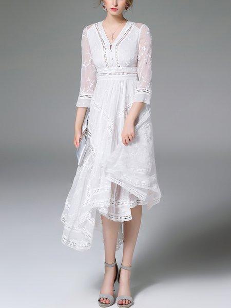 White Pierced Elegant V Neck Swing Midi Dress