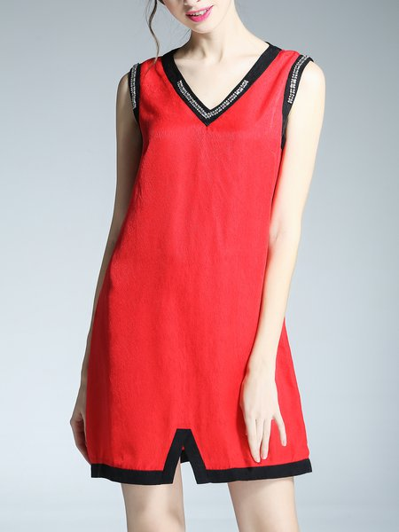 Red Silk A-line Sleeveless Color-block Mini Dress