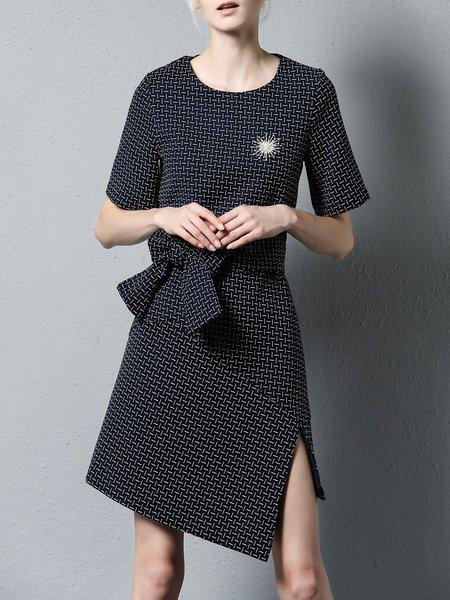 Navy Blue Short Sleeve Asymmetrical Slit Mini Dress