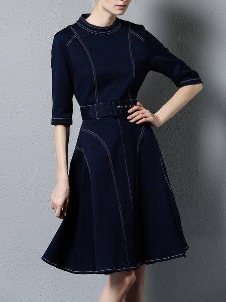 Navy Blue Denim A-line 3/4 Sleeve Midi Dress