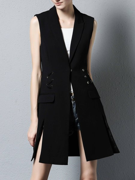 Black Slit Plain Sleeveless Lapel Vest