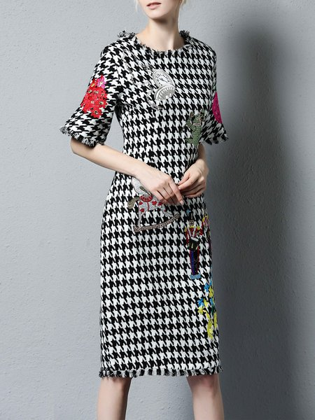 White Embroidered Houndstooth Wool Blend Midi Dress