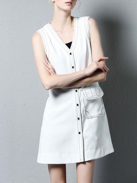 White V Neck Buttoned Silk-blend Sleeveless Mini Dress