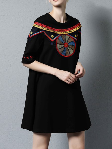 Black Cute Half Sleeve Embroidered A-line Mini Dress