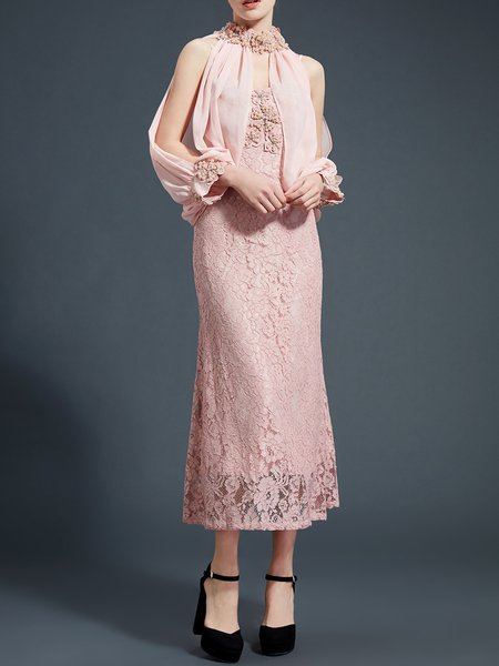 Sheath Floral Guipure Lace Elegant Long Sleeve Silk-blend Evening Dress
