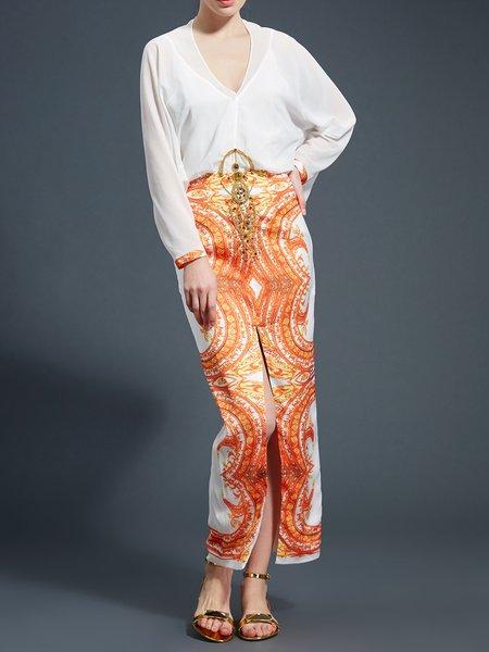 Orange Silk-blend Sheath Long Sleeve Slit Maxi Dress
