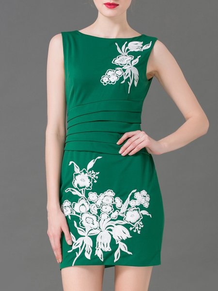 Green Floral Embroidered Sleeveless Mini Dress