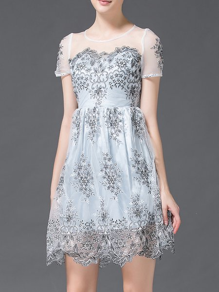 Light Blue A-line Lace Sweet Mini Dress
