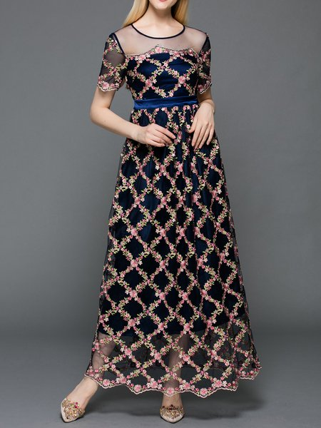 Multicolor Two Piece Floral Short Sleeve Evening Dress