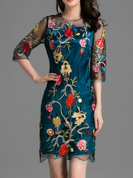Blue Polyester Floral Sheath 3/4 Sleeve Mini Dress