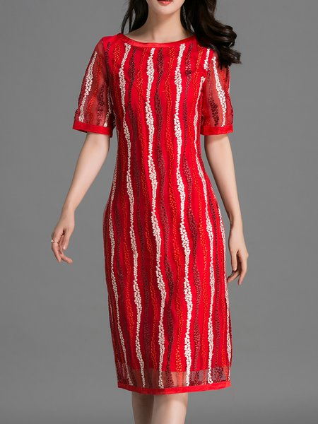 Red Short Sleeve Embroidered H-line Midi Dress