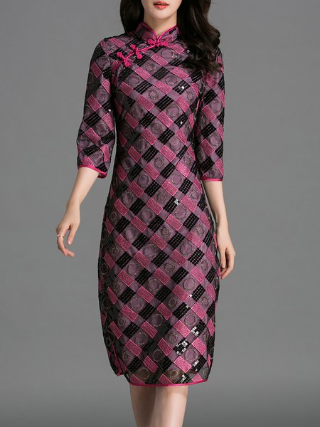 Purple Slit Vintage Sheath 3/4 Sleeve Midi Dress
