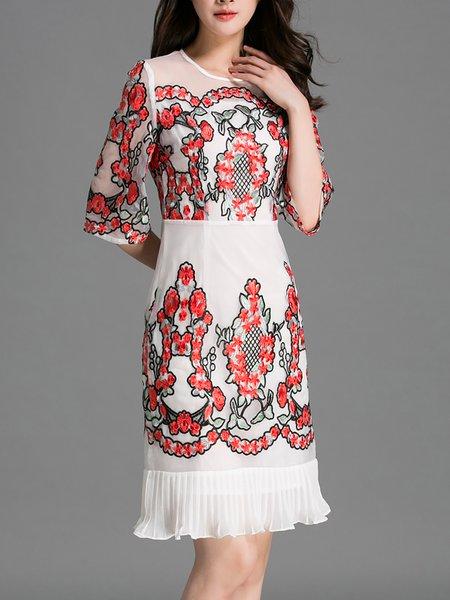 Multicolor 3/4 Sleeve Embroidered Flounce Midi Dress