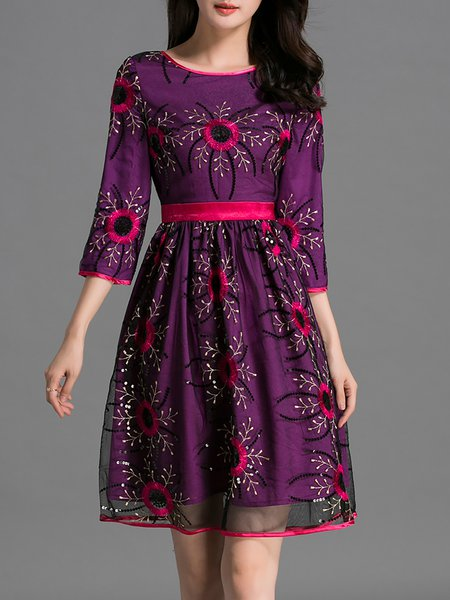 Purple 3/4 Sleeve Casual Embroidered Mini Dress