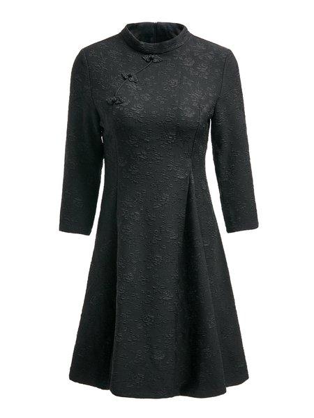 Black Rayon Vintage 3/4 Sleeve Embroidered Mini Dress