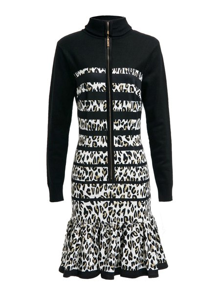 Black Zipper Flounce Turtleneck Leopard-print Mini Dress
