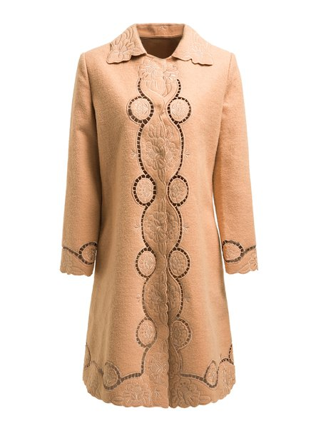 Brown Embroidered Elegant Floral Wool Blend Coat