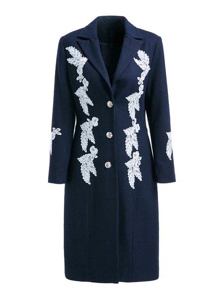Navy Blue Long Sleeve Wool Blend Lapel H-line Coat