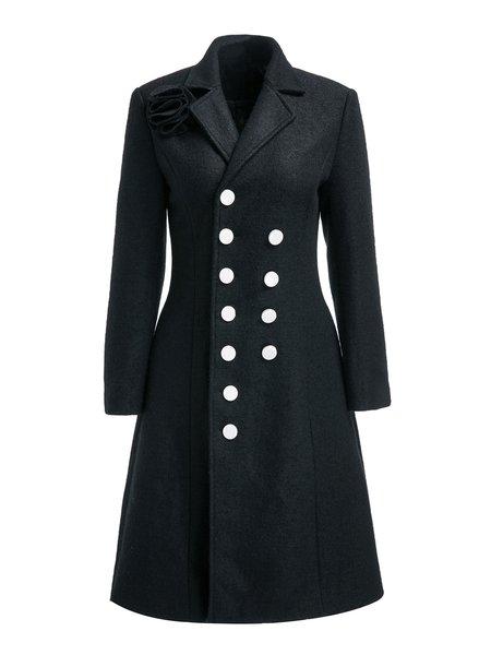 Black A-line Elegant Lapel Buttoned Coat