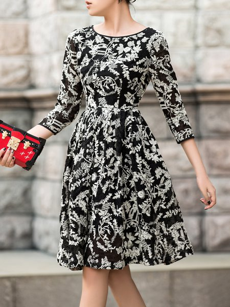 Black Embroidered A-line 3/4 Sleeve Crew Neck Midi Dress