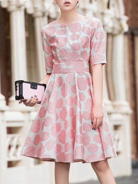 Pink Floral Girly A-line Midi Dress