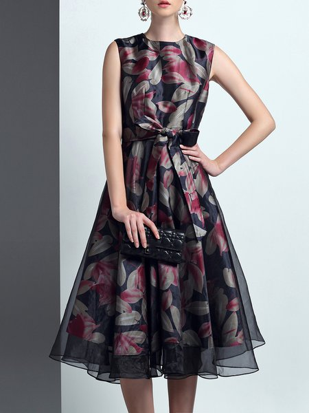 Multicolor Elegant Crew Neck Organza Paneled Polyester Midi Dress with Belt