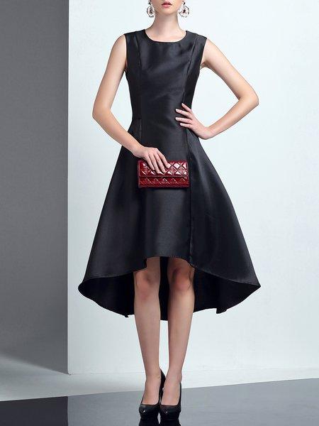 Crew Neck Elegant Asymmetric Sleeveless Midi Dress