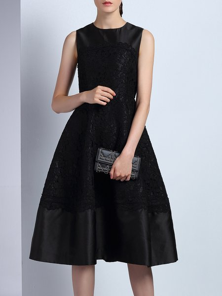 Black Crocheted Lace Paneled Sleeveless Polyester Midi Dress