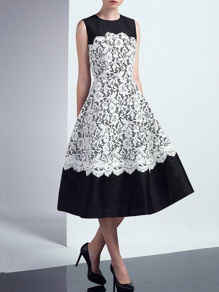 Green Crocheted Polyester Elegant Lace Paneled Midi Dress
