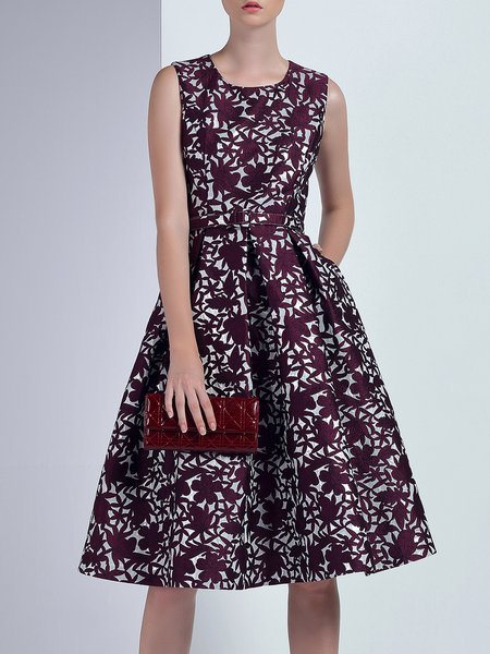 Sleeveless Elegant Jacquard Crew Neck A-line Midi Dress