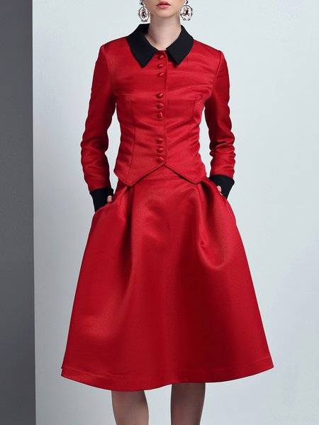 Red Two Piece Pockets Polyester Simple Midi Dress