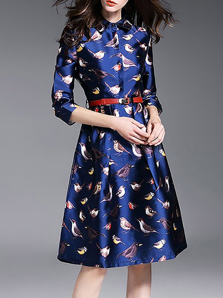 Blue Animal Print 3/4 Sleeve Midi Dress with Belt