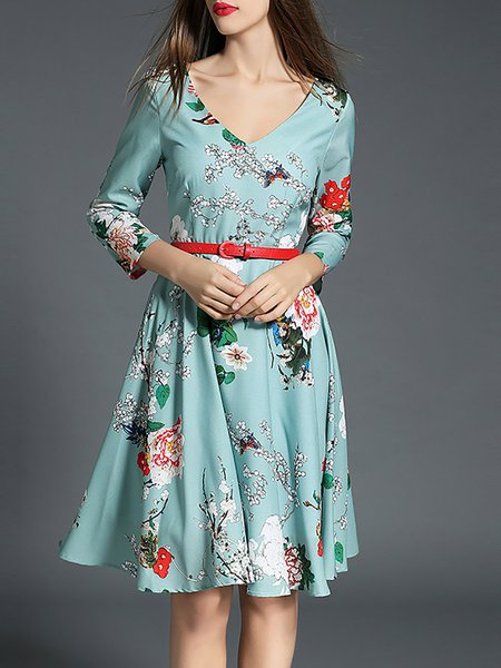 Light Blue V Neck Cotton Floral-print Midi Dress with Belt