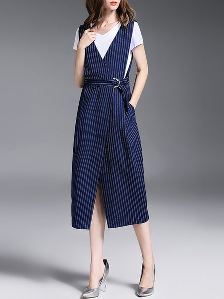Blue Cotton Stripes 3/4 Sleeve Pockets Overall Midi Dress