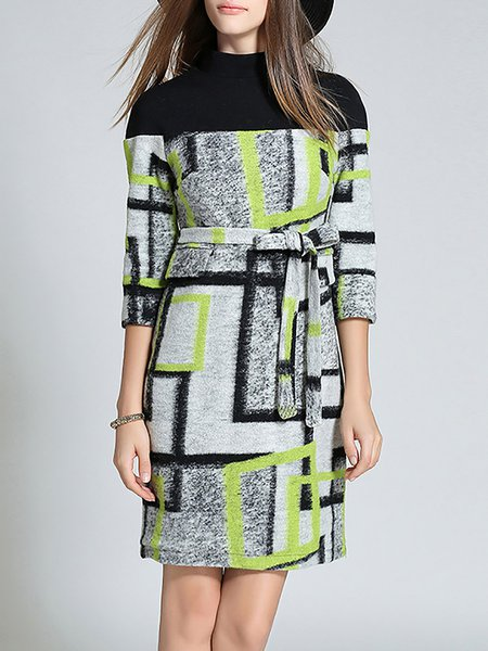 Yellow Geometric Wool Blend Color-block Midi Dress with Belt
