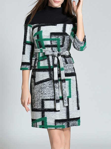Green Color-block Wool Blend Midi Dress with Belt