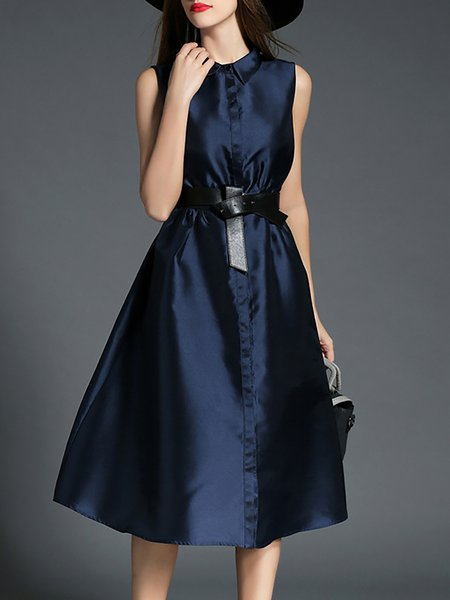 Blue Buttoned Elegant Swing Polyester Midi Dress with Belt