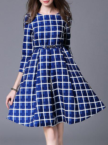 3/4 Sleeve Pockets Checkered/Plaid Elegant Midi Dress with Belt