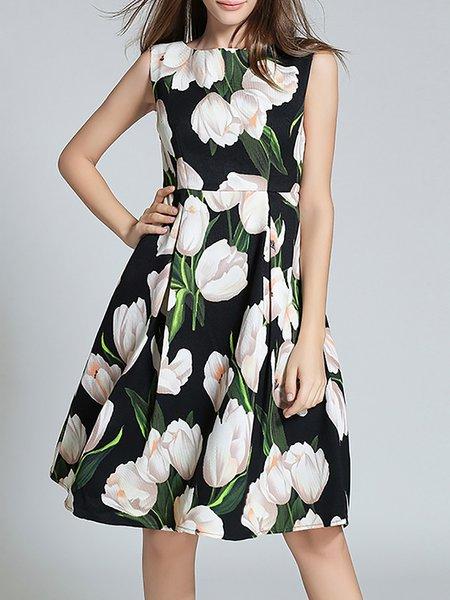 Black Sleeveless Polyester Midi Dress
