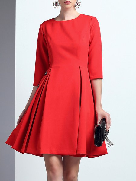 Red 3/4 Sleeve Buttoned Pockets Elegant Mini Dress