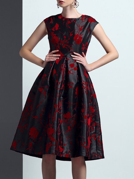 Black Swing Elegant Jacquard Midi Dress