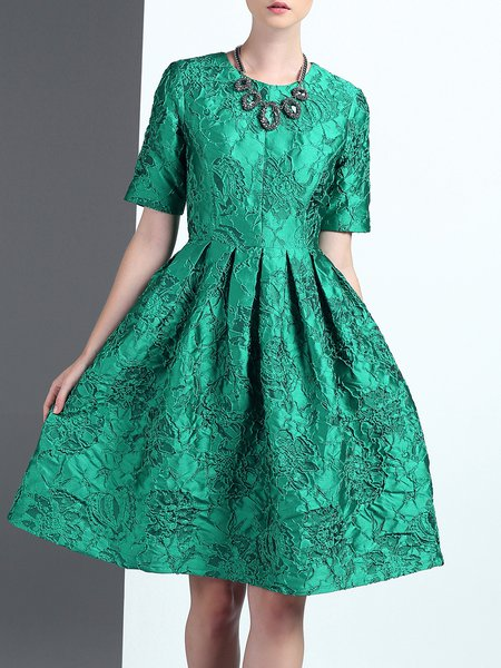 Green Floral Elegant A-line Crew Neck Midi Dress