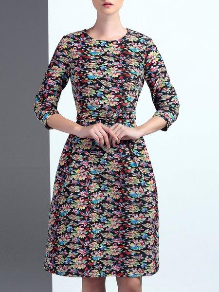 Multicolor Floral 3/4 Sleeve Crew Neck Jacquard Midi Dress